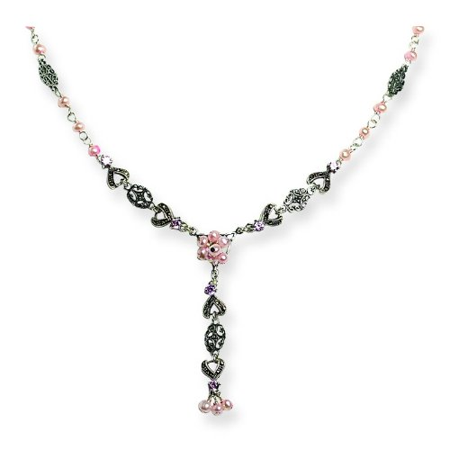 Silver Pink FW Cultured Pearl/Crystal & Marcasite Drop Necklace. 16in long.