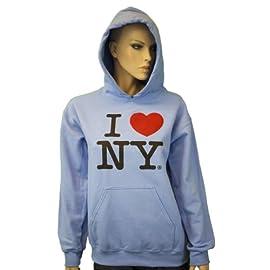 I Love NY New York Hoodie Screen Print Heart Sweatshirt Light Blue