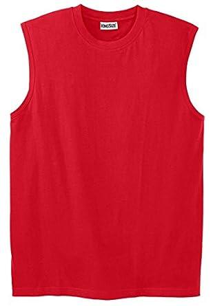 Kingsize Men's Big & Tall Lightweight Cotton Muscle Shirt, Bright Red Tall-L