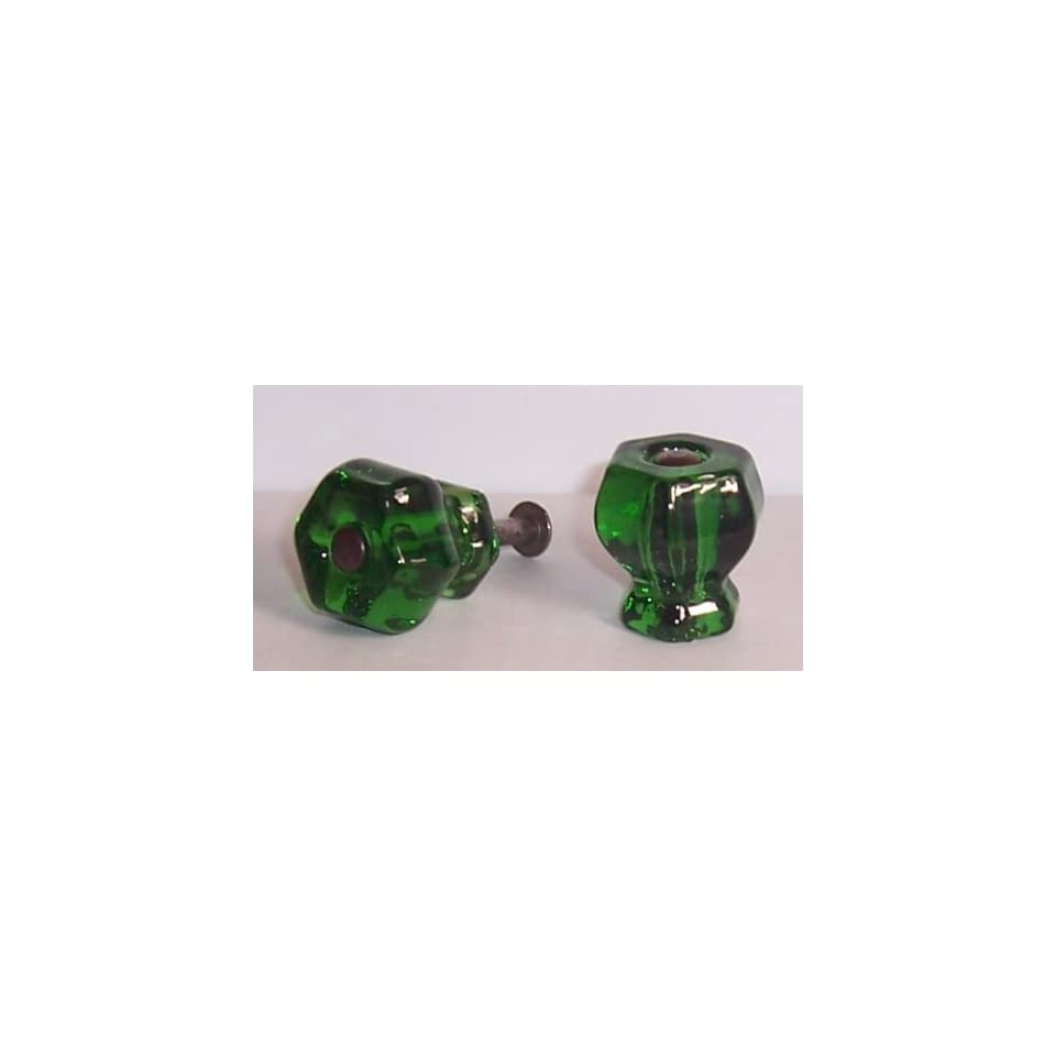 LOT of 8 Emerald Green Crystal Knob Pulls with OIL RUBBED BRONZE with Flush Fit Screws   Our Original Premium Depression typ