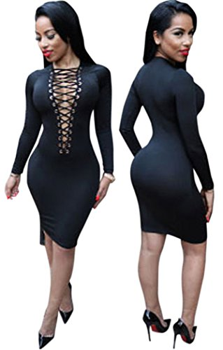 TomYork Lace-up V Neck Long Sleeve Bodycon Dress(Black) Charmeuse Maternity Bridesmaid Dress