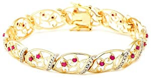 18k Yellow Gold Plated Sterling Silver Ruby and Diamond Accent Bracelet, 7.25