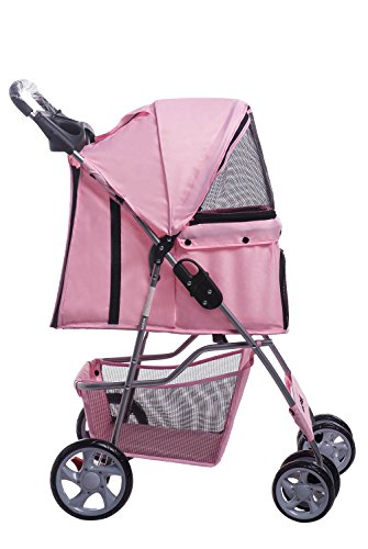 Merax Pink Four Wheels Folding Pet Stroller Travel Carrier (Pink)