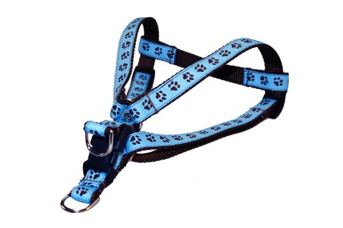 Sassy Dog Wear 15-21-Inch Blue/Brown Puppy Paws Dog Harness, Small