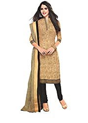 M.S. Boutique - Unstitched Cotton Dress Material - Khaki - (MS-SBT-222)