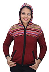 Romano Red Wool Hooded Zipper Sweater Cardigan for Women