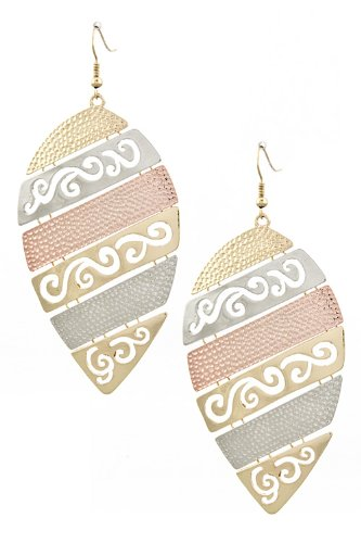 The Jewel Rack Layered Pattern Metal Earrings (Copper/Multi) front-179261