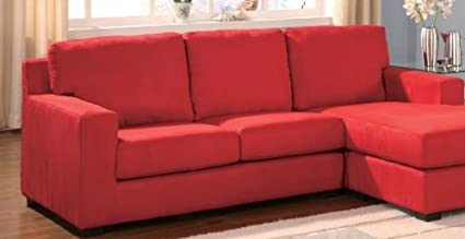 Sectional Sofa Reversible Chaise Red by Acme Furniture