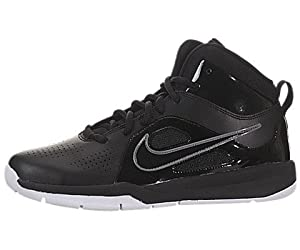Nike Kids Team Hustle D 6 (GS) Black/Black/White Basketball Shoes 4 Kids US