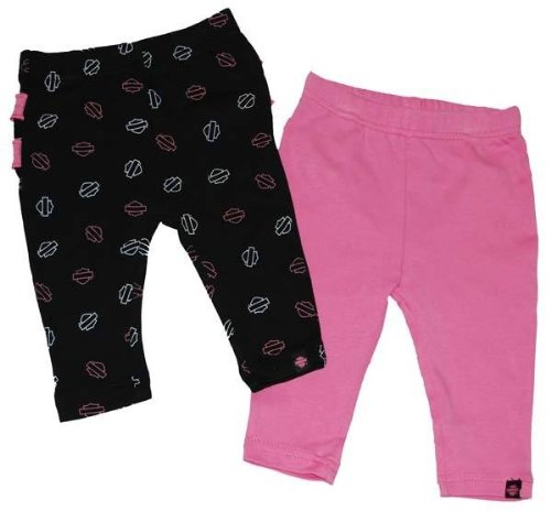 Harley-Davidson¬ Girl'S Infant Pant Set. Two Pair, Black And Pink. All Cotton... front-391433