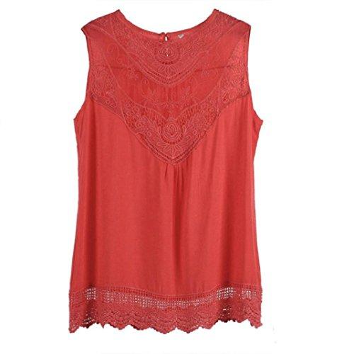 Kolylong Frauen Sommer Weste Spitze Sleeveless Spitze Tank Tops Hemd Shirt (XL(40), Hot Pink )