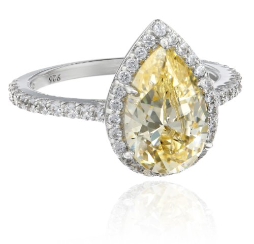 Myia-Passiello-Platinum-Plated-Silver-and-Pear-Cut-Yellow-Swarovski-Zirconia-Cocktail-Ring