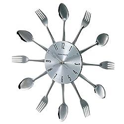Telechron Spoon Fork Clock, Silver