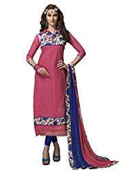 Suchi Fashion Pink & RoyalBlue Embroidered Chanderi Dress Material
