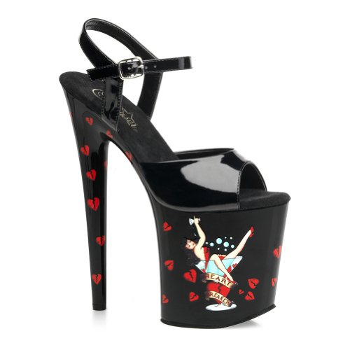 8 Inch Sexy Stripper Shoes High Platform Sandals Ankle Strap Pin Up Martini Glass Shoes Size: 9