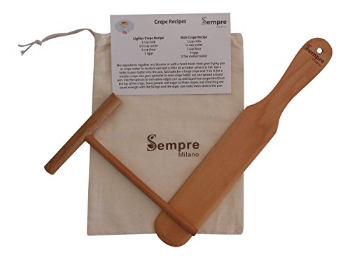 Sempre Crepe Making Kit 2 Piece (5 inch Spreader and 13 inch Spatula) Natural Beechwood Includes Storage Bag and Recipe Card
