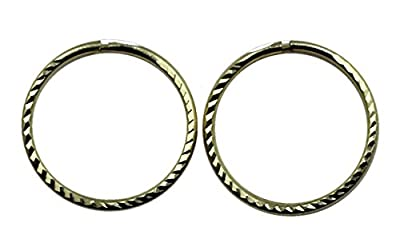 Arranview Jewellery 9ct Gold 12mm Diamond Cut Sleeper Hoops (1 Pair)