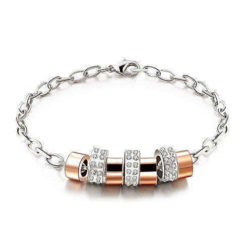 City Ouna® Elementi di Swarovski 18ct oro e argento placcato Link bracciale con diamante di cristallo austriaco Chain Bangle salute gioielli nichel libero