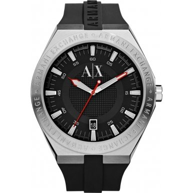 Armani Exchange AX1219 Mens Etched Logo Silicone Strap Watch