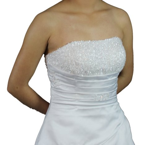 Faironly Crystal Strapless Satin Wedding Dress Bride Gown (Medium, White)