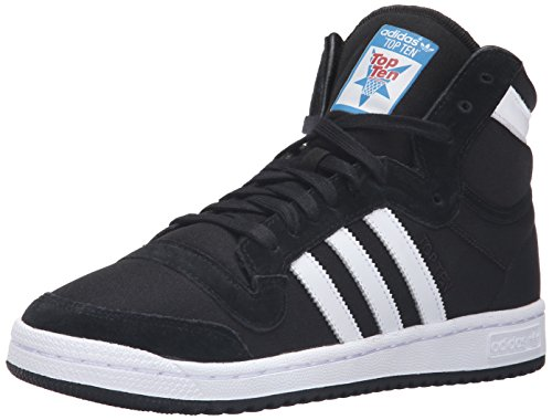 Adidas Originals Men's Top Ten Hi Fashion Sneaker, Black/White/Black, 14 M US