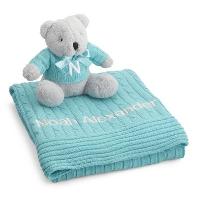 Personalized Aqua Knit Blanket And Bear Set front-876