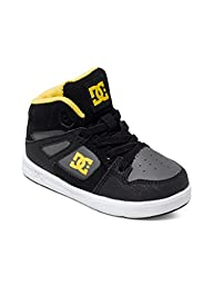 DC Rebound UL Youth Shoes Skate Shoe (Toddler), Black/Grey/Yellow, 8 M US Toddler