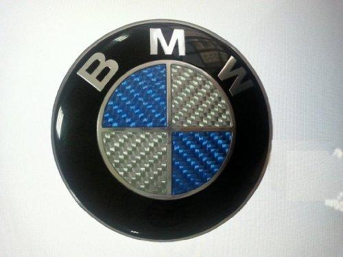 Bmw Carbon Fiber Blue Silver Emblem Badge Logo For Hood
