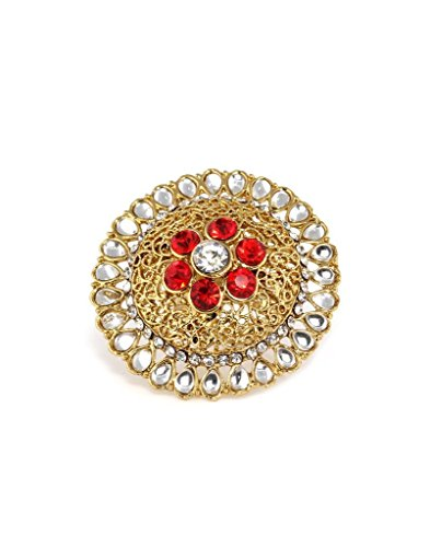 Bindhani Traditional & Ethnic Gold Plated Kundan Finger Ring For Women (Adjustable, Red)  available at amazon for Rs.210