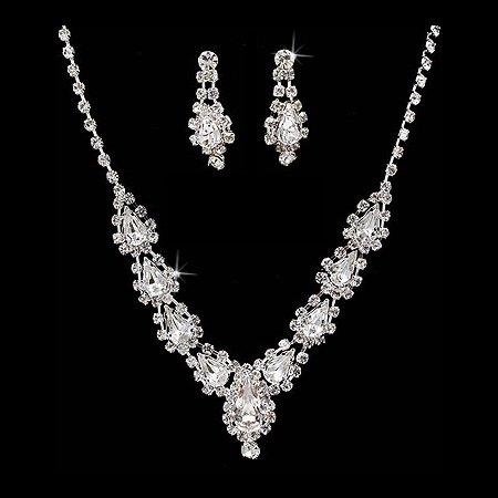 Bridal Wedding Jewelry Set Necklace Earring Rhinestone Teardrop Links Silver