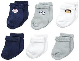 Gerber Baby Boys 6 Pack Variety Socks, All Star, 0-3 Months
