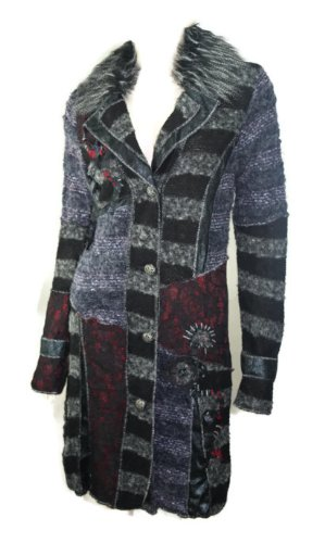 #695 Damen Luxus Designer Patchwork Winter Mantel lang Stickerei Neu 36 38 40 42 (40)