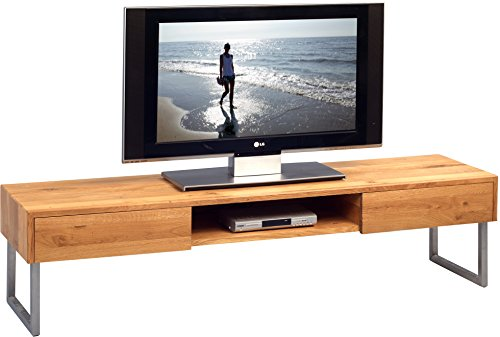 HomeTrends4You-353722-TV-Bank-Holz-wildeiche-metall-edelstahl-168-x-47-x-21-cm