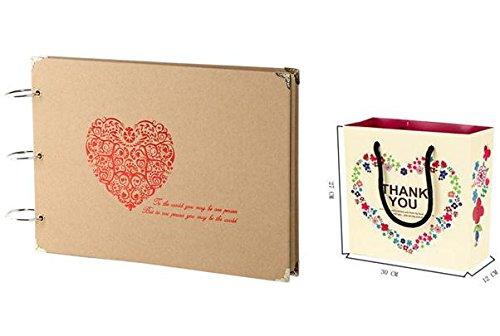 N-hilfe アルバム 30枚 スクラップブッキング 用 写真 収納 可愛い ハート 収納袋のセット(赤)