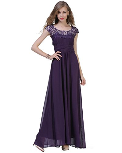 CARVAIN-Cap-Sleeve-Bodice-Rhinestones-Lace-Bridesmaid-Prom-Long-Evening-Dress