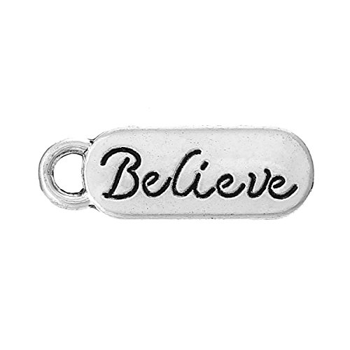 Silver Believe Tab Charms 20mm Awareness Jewelry Package of 50 Charms