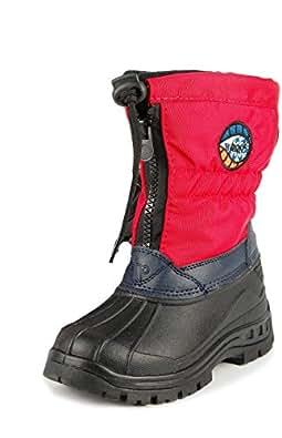 WOOLF SHOES Kinder Winter Unisex Outdoor-Wetterboots, Stiefel, rot-schwarz, Größe:35
