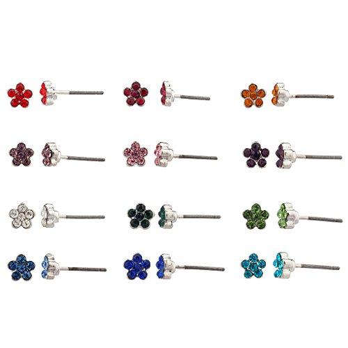 Lux accessori cristallo multi colore floreale multiple Orecchini a perno