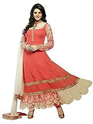 1 Stop Fashion Peach Semi Stitched Georgette Anarkali Salwar Kameez