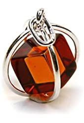 Amber Sterling Silver Millennium Collection Spherical Contemporary Pendant Cube