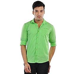 CREEDS Men's Light Green Cotton Casual Shirt(X-Large)