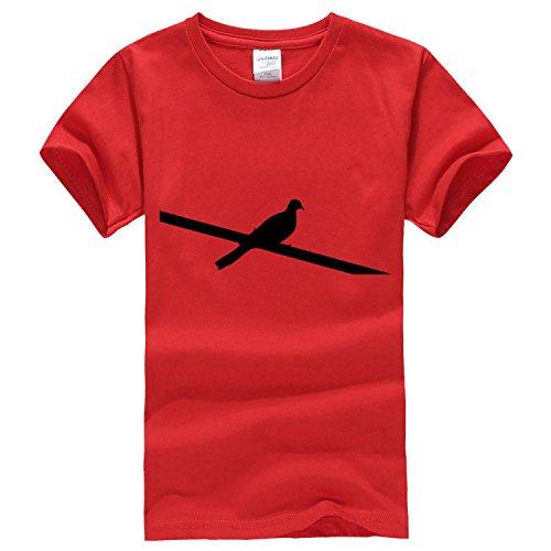 One from power lines bird short sleeve T Shirt Medium Red