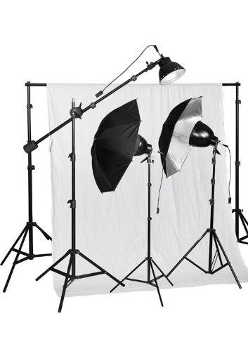 Cowboystudio 750W Premium Photo Studio Reflector Umbrella Continuous Halogen Boom Lighting Kit, 10 X 12Ft White Muslin Backdrop And Background Support System With Carry Case