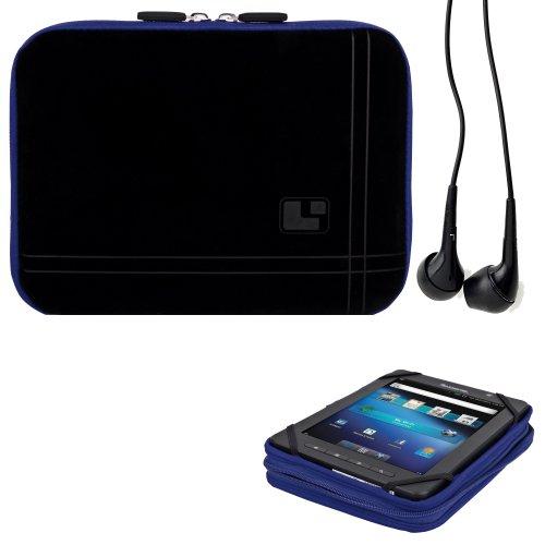 8 Inch Tablet Case Streak Blue Neoprene Bubble Padded Zippered Sleeve (Fits the Skytex Skypad Alpha 2) + Black Skytex Skypad Alpha 2 Compatible Stereo Ear Buds