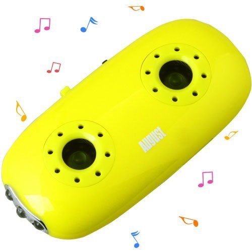 August MB100Y Pocket MP3 Player with Integrated Stereo Speakers and LED Flashlight- Yellow