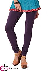Women's solid Purple Cotton-Lycra Leggings/Churidars