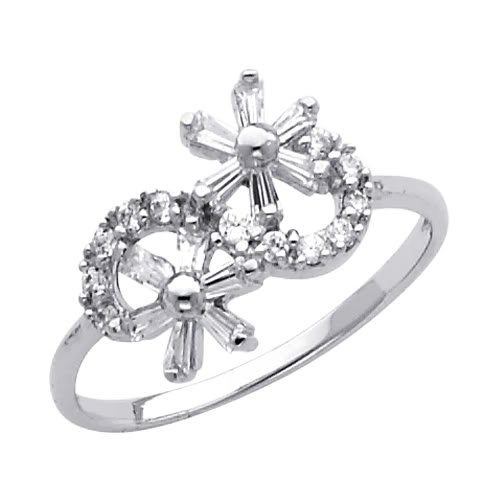 14K White Gold Flower CZ Cubic Zirconia Promise Ring Band - Size 9