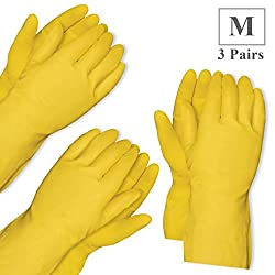 Healthgenie Flocklined House Hold Glove Medium, 3 Pairs