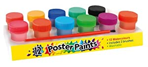 SET OF 12 CHILDRENS NON TOXIC POSTER PAINTS