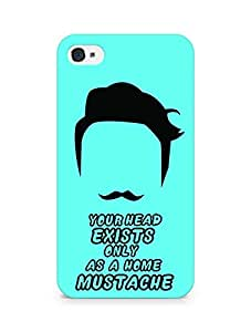 Amez designer printed 3d premium high quality back case cover for Apple iPhone 4 (Mustache)